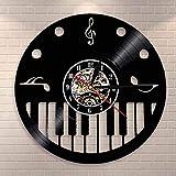 N-P Piano Keys Violinschlüssel Schallplatte Wanduhr Pianist Musikkünstler Studio Wanddekoration...