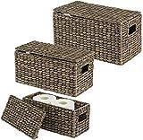 hhkty Set von 3 Speicherkörben □ Stilvolle Wasserhyazinth Körbe mit Deckeln □ Regalkorb mit...