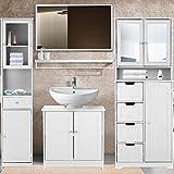 Fesjoy Modern Tower Hochschrank mit Türen&Schubladen Holzboden Schrank Wohnmöbel Weiß/Blau