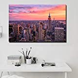 wukongsun Empire State Building Sonnenuntergang Wandkunst Poster Wohnzimmer New York Landschaft...