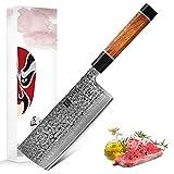 XINZUO Damaststahl Hackmesser 17.3cm Hackbeil Nakirimesser, Multifunktions Küchenmesser Damaskus...