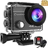 Crosstour Action Kamera 4K 20MP WiFi Externes Mikrofon Fernbedienung EIS Helm Unterwasser Camcorder...