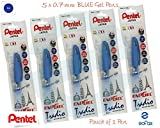 Pentel EnerGel Tradio BL117 Gelschreiber, Metallspitze, Blau, 5 Stück