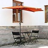 Angel Living 270cm Halbrund Sonnenschirm, Marktschirm,Terrassenschirm mit Kurbel fr...