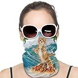 XCNGG Katze Surfen auf Pizza Ozean Palme Abdeckung Bandanas für Damen Herren Halstuch,...