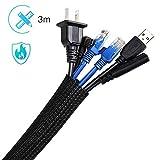 AGPTEK Kabelkanal, selbstschlieend Kabelschlauch, gewebter Kabelmantel zuschneidbar, flexibel 3m,...