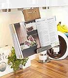Kochbuchhalter Buchhalterung hngend Bambus / Edelstahl 32x16x6 cm Kchenhilfe