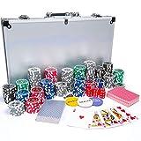 DEPATO Pokerset 300 Chips, 2 Karten Decks, Aluminium Pokerkoffer, Poker Set, Poker Chips, Geschenk