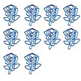 BIGBOBA 10 Stück Büroklammer Blaue Rose Motiv Büroklammernhalter Papier Clips Motiv Heftklammern...