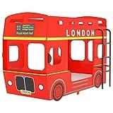 Tidyard Etagenbett London-Bus Kinderzimmer Hochbett Kinderbett Stockbett Doppelbett mit Seitenleiter...