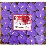50 Herzförmige Kerzen Teelichter,Romantische Liebe Unparfümierte Teelichter Kerzen,Tropffrei &...