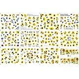 Hopowa 12 Blatt Nagel Sticker 3D Design, Sonnenblume Nagelsticker Nail Art Stickers Set, Aufkleber...