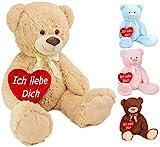 Brubaker XXL Teddybär 100 cm groß Beige mit einem Ich Liebe Dich Herz Stofftier Plüschtier...