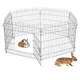 ECD Germany Freilaufgehege aus 6 Gittern für Kleintiere, 70x60cm, Freigehege aus Metall verzinkt,...