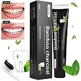 Aktivkohle Zahnpasta-Natürliche Zahnaufhellung und Zahnreinigung -Bambuskohle Schwarze...