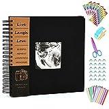 Anleymu Scrapbook Leineneinband, Fotoalbum mit Fotoöffnung, hochwertiges Gästebuch für...