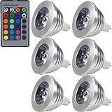 MENGS 6 Stück 3W RGB LED Reflektorlampe MR16 LED Farbige Licht Leuchtmit RGB LED Leuchtmittel...