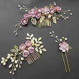 Youjin Eleganter Haarschmuck, Hochzeit Haarkamm Pin Set, Ornamente Elegante Blaue Blume Handmade...