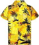 V.H.O. Funky Hawaiihemd, Kurzarm, Surf, gelb, XL