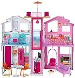 Barbie DLY32 - 3 Etagen Stadthaus Puppenhaus mit 4 Zimmer, Aufzug und Zubehör, ca. 75 cm hoch,...