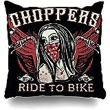 WHEYT Dekokissen Fall 55X55 cm Plakat Tattoo Helm Motorrad Biker Design Mädchen Schwarz Weiß...