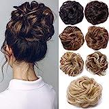 Hair Extensions Haarverlängerung Haarteil Haargummi Hochsteckfrisuren unordentlicher Dutt Gewellt...