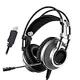 FGHT Virtuelle 7.1 Sound Gaming Headset Bester PC Gamer USB Stereo Bass-Kopfhrer mit Mikrofon for...
