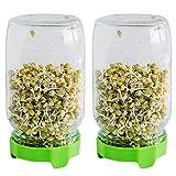 Cell Garden Sprossenglas 2er Anzuchtset für Sprossen I 1000 ml Keimglas + gratis App mit...