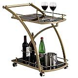 IDIMEX Servierwagen EVO edles Design Beistellwagen Servicewagen Teewagen in Gold mit schwarzem Glas