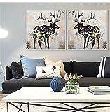 Geiqianjiumai Deer Tiermalerei lgemlde rahmenlose Malerei 40X40cm