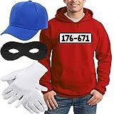 Shirtgeil Panzerknacker Banditen Kostüm Hoodie + MÜTZE + Maske + Handschuhe Kapuzenpullover Hoodie...