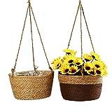 WUHUAROU 2 Stück Rattan Blumenkorb Blumentöpfe Hängend Blumentöpfe zum Aufhängen Übertopf rund...