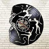 LKJHGU Gymnastik 3D Vinyl Schallplatte Wanduhr Wanduhr Rhythmische Gymnastik Grosgrain Band Cool...