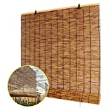 ZDDY Bambus Roll Up Shades, Natural Reed Rollo Jalousien Roman Retro dekorativen Vorhang mit Lifter,...