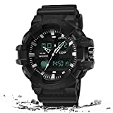 WTTHCC Herren Outdoor Digitaluhr Dual Time wasserdichte Multifunktions-Sportarmbanduhren Mit...
