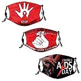 AIDS HIV Awareness Red Ribbon Mund Nasenschutz, 3 Stück Erwachsene Anti-HIV Mund Schutz Waschbare...