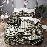 SUHOM Bettwsche-Set,Mikrofaser,Coole Sportwagen Motorengetriebe Steampunk House,1 Bettbezug 135x200...