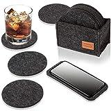 DINING concept Filz Untersetzer rund für Gläser im 10er Set dunkelgrau mit Box & GRATIS Handy...