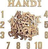 Holzbuchstaben und Holznummern (124 Stück) - Satz von (A-Z) Großbuchstaben und Kleinbuchstaben (je...