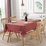 N/A Jinyuan Rechteck Tischdecke Einfarbige Tischdecke aus Baumwolle und Leinen mit Quaste fr...