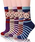 Damen Woll-Socken mit Katzenmotiv, warm, weich, Baumwolle, für kalte Wetter, 5 Paar -  -  Medium
