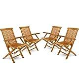 DIVERO 4er-Set Klappstuhl Teakstuhl Gartenstuhl Teak Holz Stuhl mit Armlehne für Terrasse Balkon...