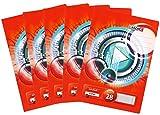 Landre Schulheft A4, kariert, Lineatur 28, 32 Blatt, rot, Zufallsmotiv, 5er Pack