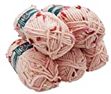 Alize Maxi Flower 5 x 100 Gramm Wolle mit Farbtupfer, 500 Gramm Effektwolle (rosa rot weiß 5820)