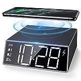 NBPOWER Digitaler Wecker mit kabelloser Qi-Ladestation, Digital Uhr mit 4...