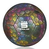YANYODO Fußball Trainingsfußball für Kind/Erwachsener,Holographic Glowing Reflektierender...