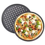 Tiamu Pizzablech aus Kohlenstoffstahl, 2er Set Pizza-Backblech mit Löchern, rund, perforiert 28cm