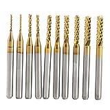 10 pcs Schaftfräser Titan Beschichtete Fräserset Hartmetall CNC Fräser Gravur Bits Carving Drill...