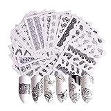 Gwolf Nagelsticker Selbstklebend, 40 Blatt Nagelaufkleber Selbstklebend Blumen, Nail Art Sticker...