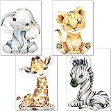 artpin® 4er Set Bilder Babyzimmer Deko Junge Mädchen - DIN A4 Poster Kinderzimmer Baby Dschungel...